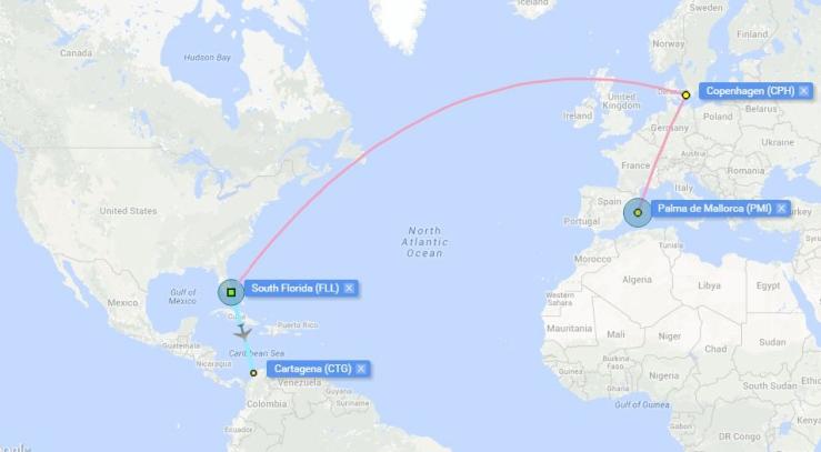 palma-cartagena route map